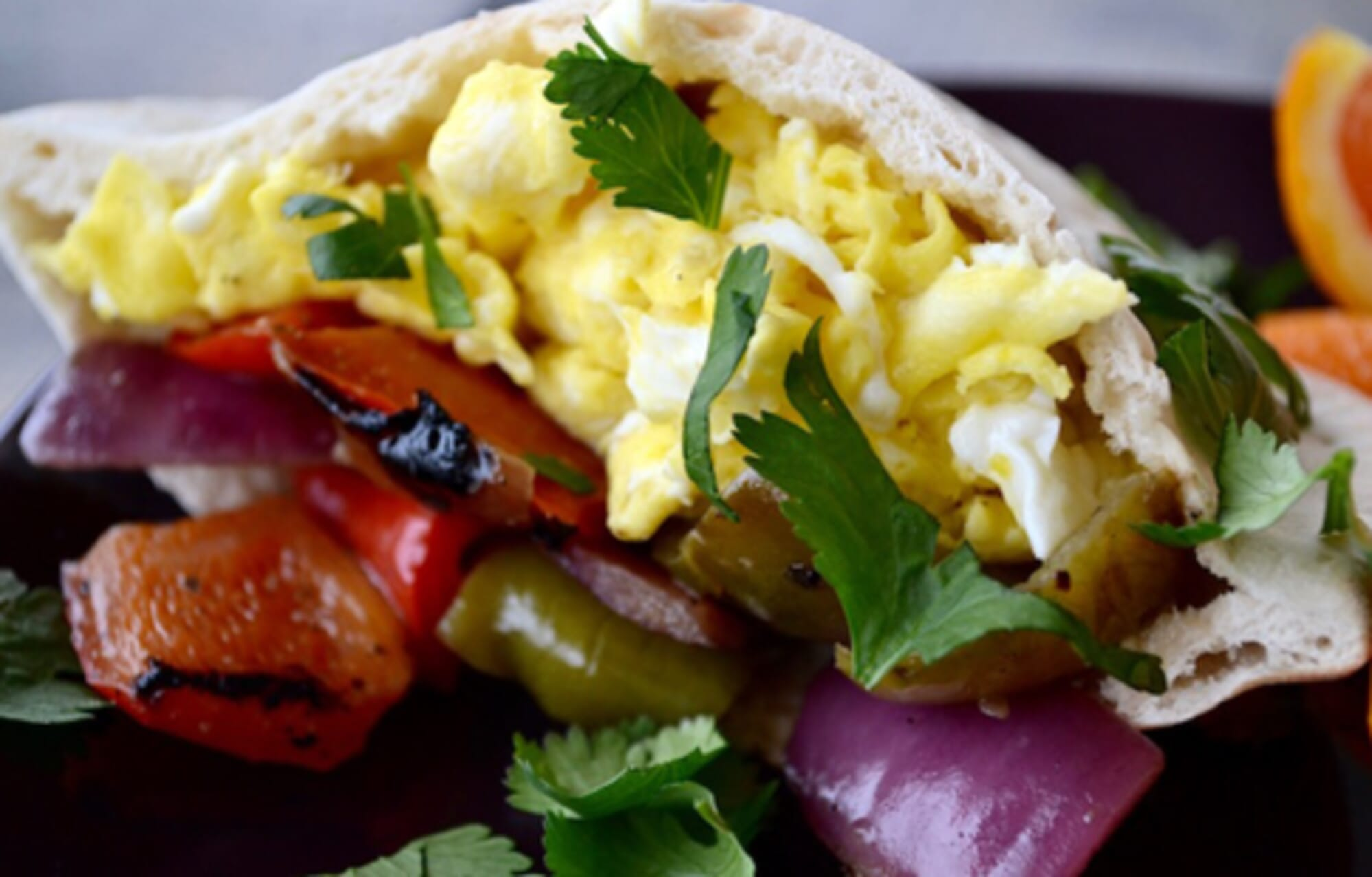 Fajita Egg Stuffed Pitas
