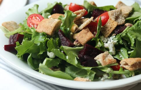 Kale Salad with Roasted Beets and Pita Croutons