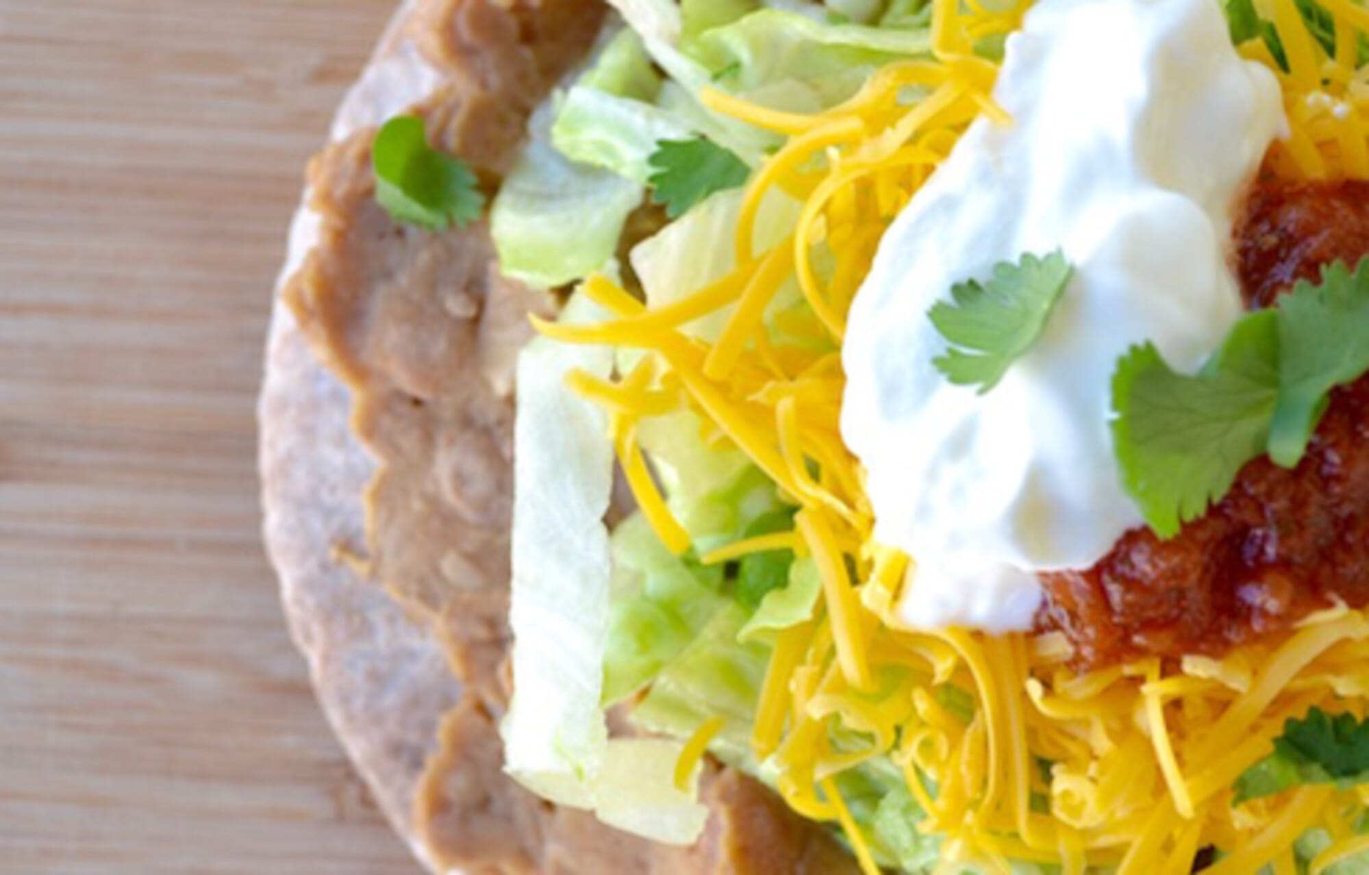 Quick Tostada on Whole Wheat Pita