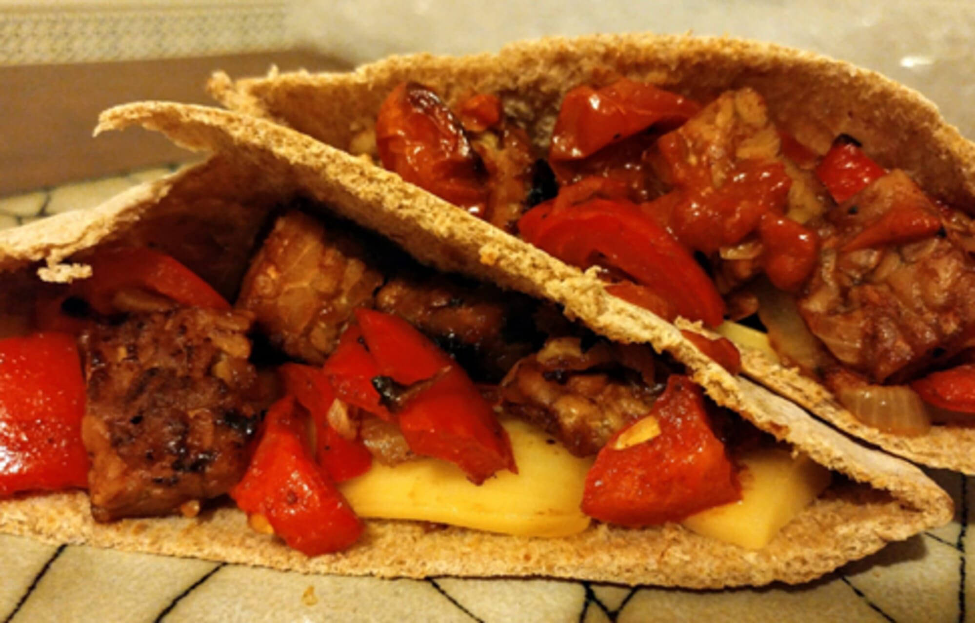 Cheesy BBQ Tempeh Pita Pockets
