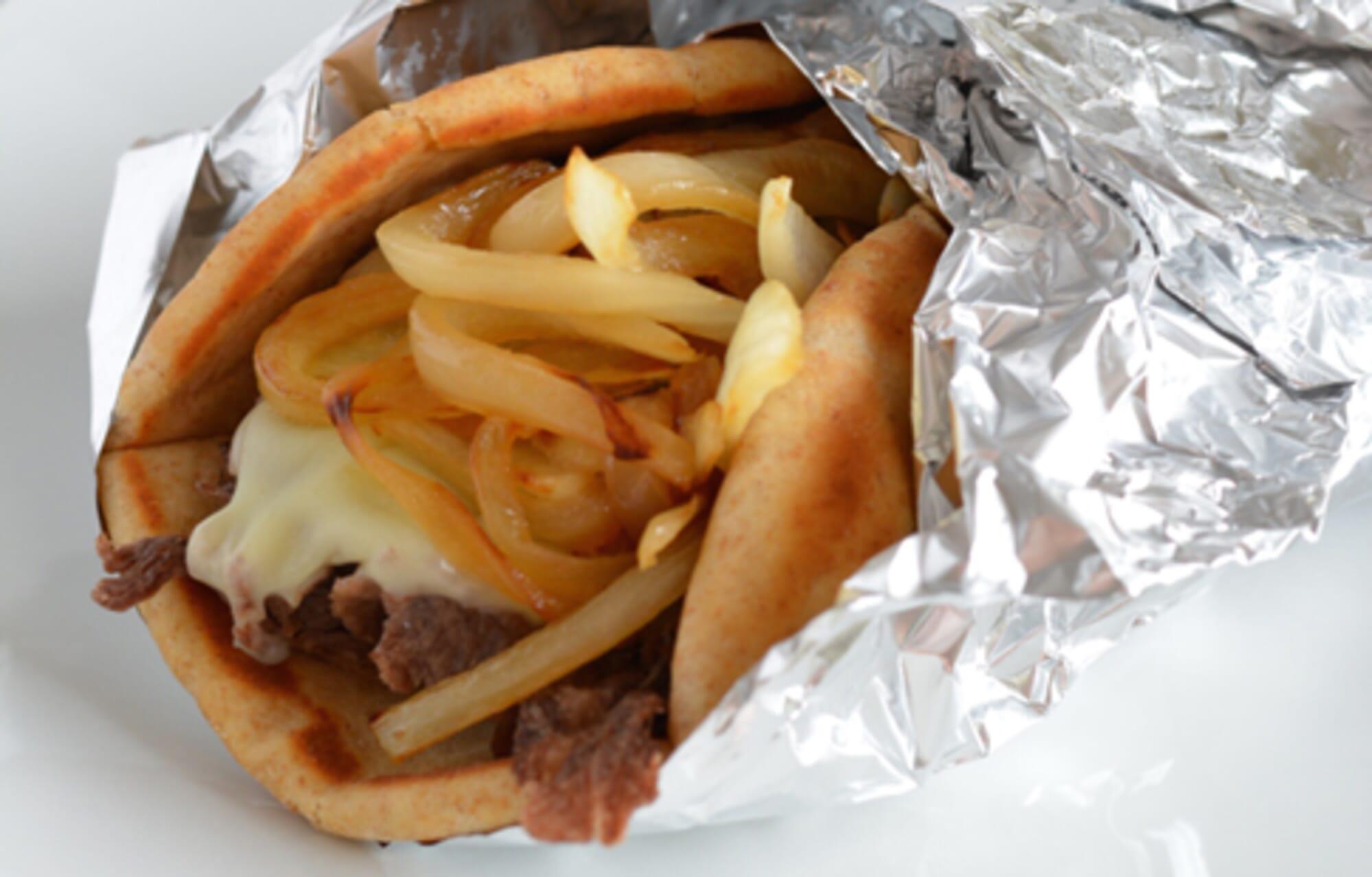 Philly Cheese Steak Pita Sandwich
