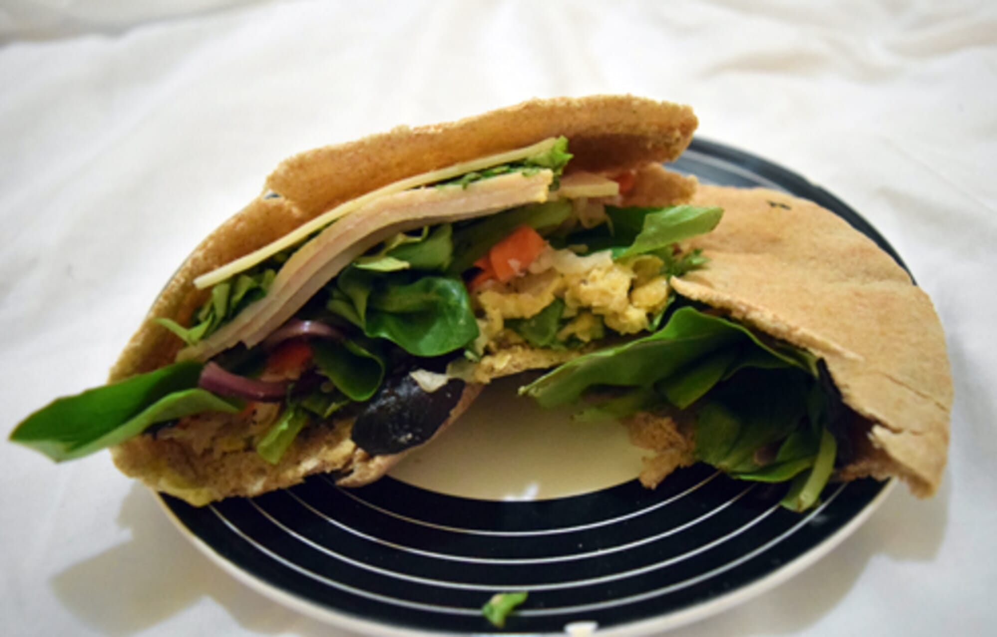 Turkey, Provolone, and Chickpea Stuffed Pita