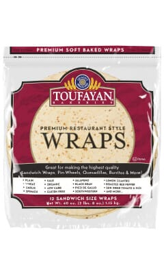 Toufayan Premium Cauliflower Food Service Wraps