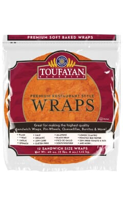 Toufayan Premium Roasted Red Pepper Food Service Wraps