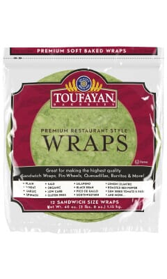Toufayan Premium Spinach Food Service Wraps