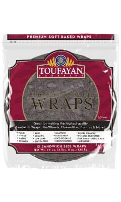 Toufayan Premium Black Bean Food Service Wraps