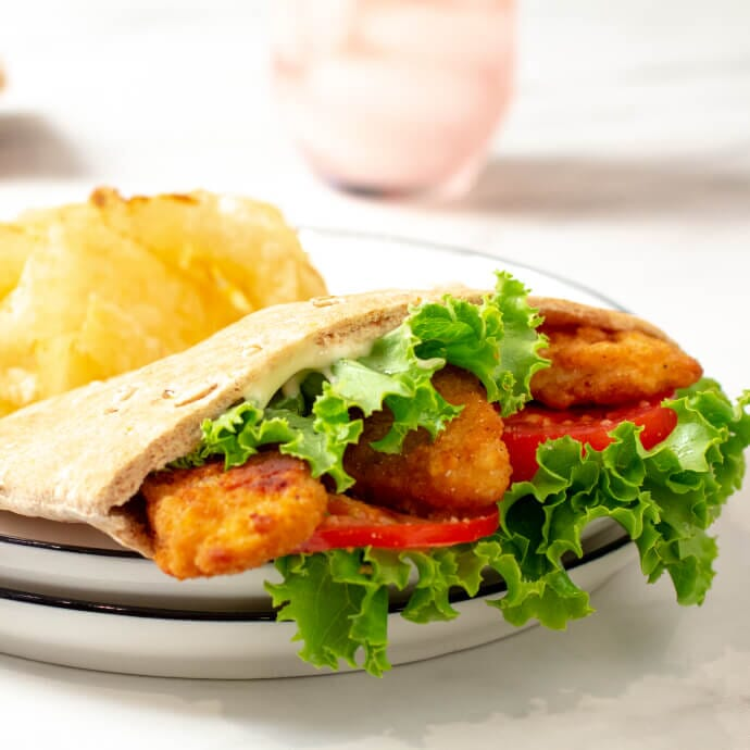 Chicken Tender with lettuce and mayonnaise stuffed inside Toufayan Smart Pockets™