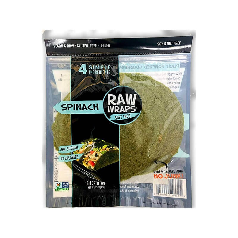 Green Leaf Raw Wraps Soft Taco Tortilla Spinach