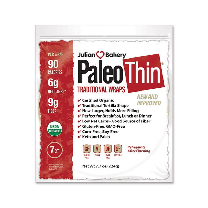 Julian Bakery Paleo Thin Traditional Wraps Gluten Free