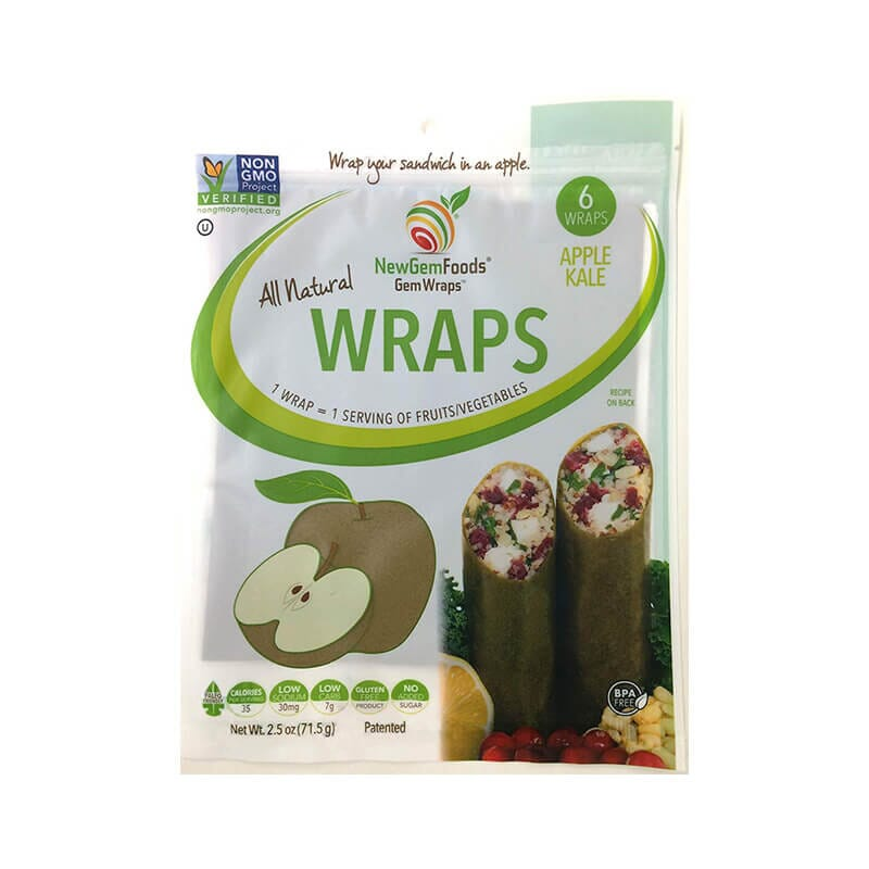 NewGem Foods Wraps Gluten Free Apple Kale