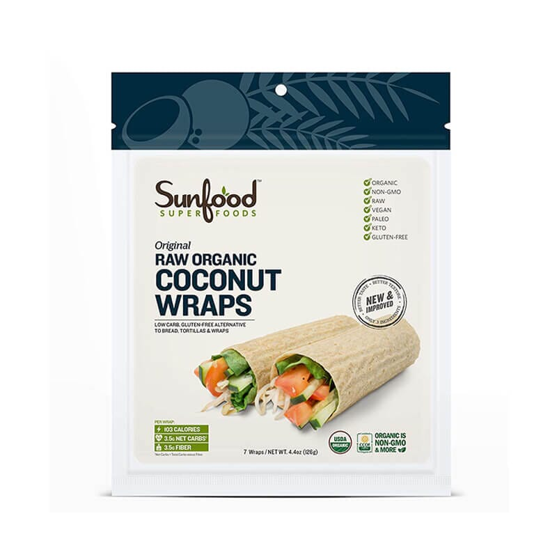 Sunfood Super Foods Original Raw Organic Coconut Wraps
